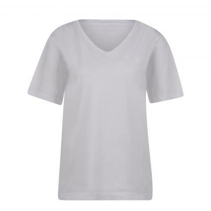 T-Shirt mit V-Ausschnitt weiss (200 white) | S