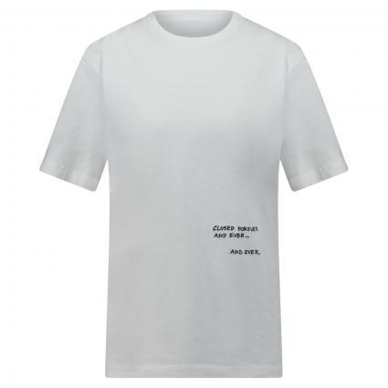 T-Shirt mit Wording Stickerei weiss (200 white) | L