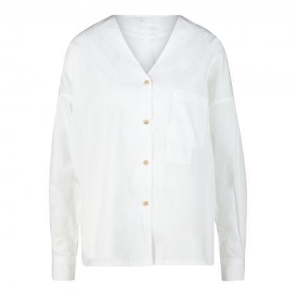 Hemdbluse mit V-Ausschnitt 'naida' weiss (200 white) | S