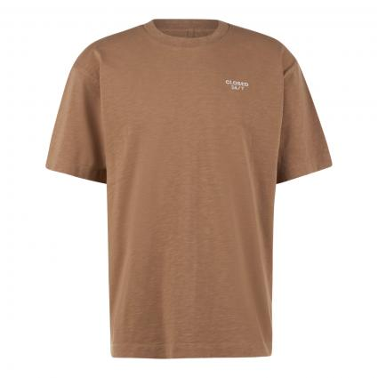 T-Shirt mit Logo-Stickerei braun (766 hickory) | S