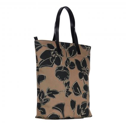 Shopper mit floralem All-Over Muster braun (766 hickory) | 0