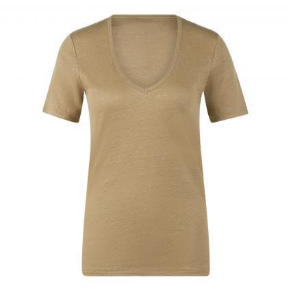 T-Shirt mit V-Ausschnitt aus Leinen grün (620 green bark)   L