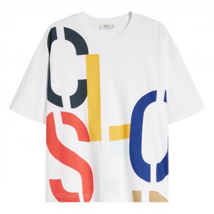 Boxy T-Shirt mit Label-Druck weiss (200 white) | S