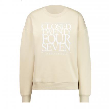 Sweatshirt mit Logo-Print  beige (298 almond cream) | M