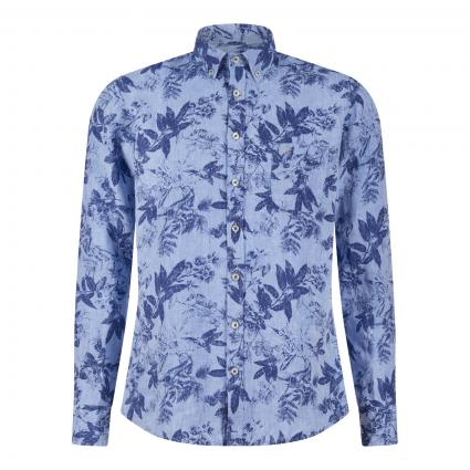 Leinenhemd mit All-Over Print blau (9013 blue navy flowe) | L