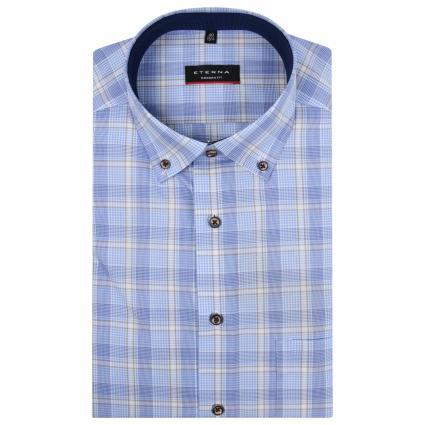 Kurzärmliges Hemd mit All-Over Karo Muster  blau (12 mittelblau) | 40