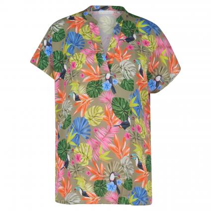 Bluse mit tropischem All-Over Print lila (99 lila) | 36