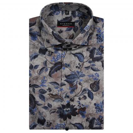 Modern-Fit Hemd mit All-Over Blumen Muster  braun (29 dunkelbraun) | 42