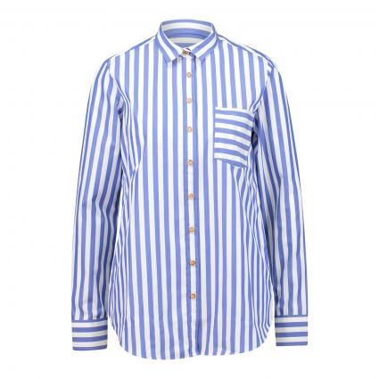 Bluse mit markantem Streifenmuster marine (16 dunkelblau) | 44