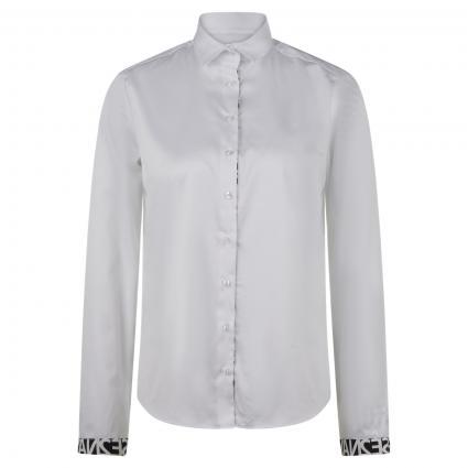 Bluse mit Printdetails und Kellerfalte im Rücken weiss (00 weiss)   34
