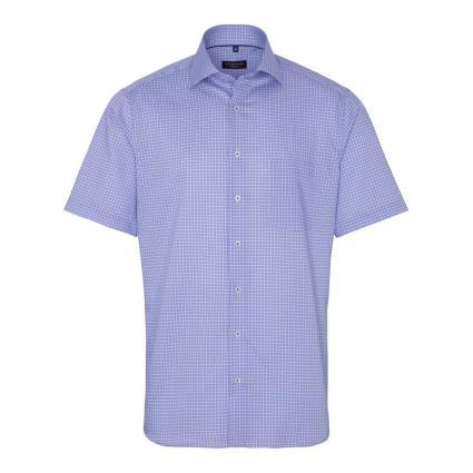 Kurzärmeliges Modern-Fit Hemd mit All-Over Muster blau (12 mittelblau)   40