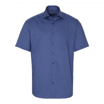 Kurzärmeliges Modern-Fit Hemd mit All-Over Muster marine (19 marine)   45