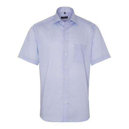 Kurzärmeliges Modern-Fit Hemd mit All-Over Muster blau (12 mittelblau)   41
