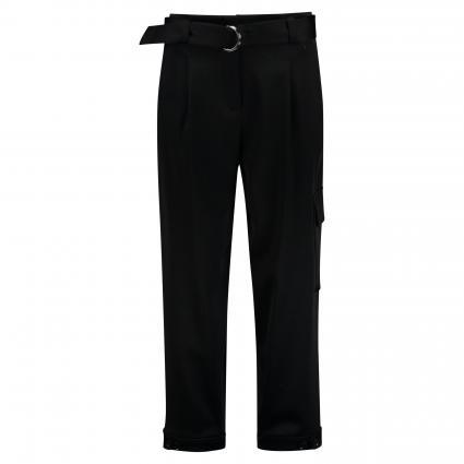 Weite Hose mit Gürtel schwarz (999 black) | 36