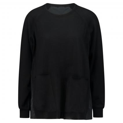 Pullover mit Tafteinsatz schwarz (999 black) | 38