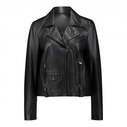Lederjacke mit Plissee-Einsatz schwarz (999 black) | 42