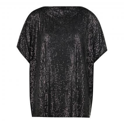 Blusenshirt mit All-Over Pailletten schwarz (999 black) | 38