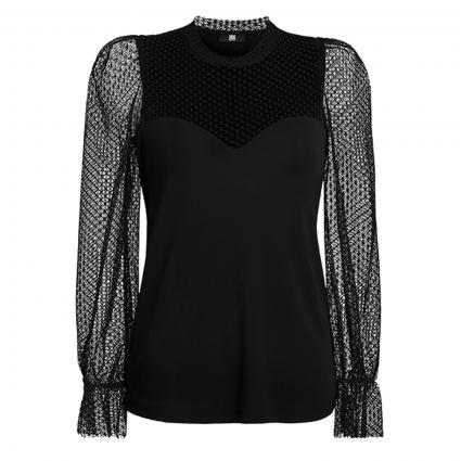 Blusenshirt aus Material-Mix schwarz (999 black) | 42