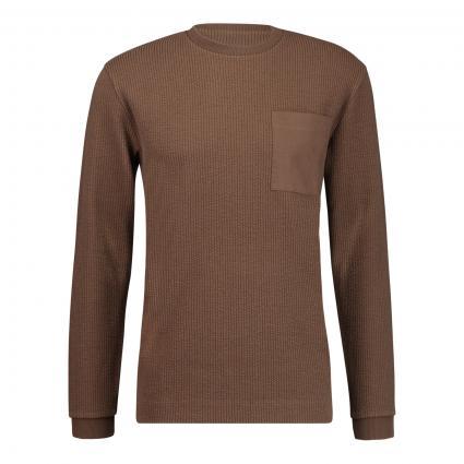 Sweatshirt mit Rundhalsausschnitt und Brusttasche  braun (1202 braun)   XL