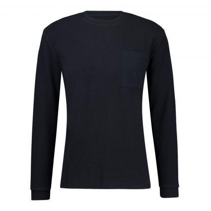 Sweatshirt mit Rundhalsausschnitt und Brusttasche  marine (3000 blau)   M