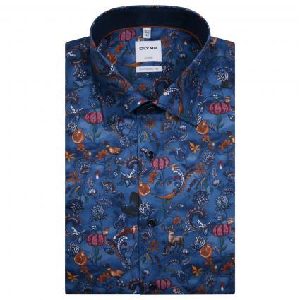 Comfort-Fit Hemd mit All-Over Muster  blau (13 rauchblau) | 45