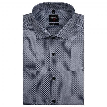 Body-Fit Hemd mit All-Over Muster  schwarz (68 schwarz) | 39