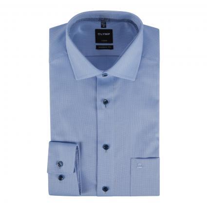 Modern-Fit Hemd mit Strukturmuster blau (11 bleu) | 39
