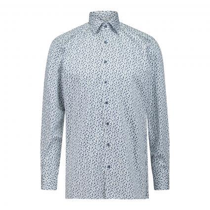 Modern-Fit Hemd mit Musterung blau (11 bleu) | 42