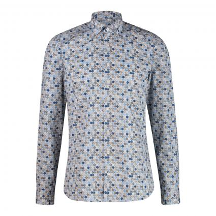 Body-Fit Hemd mit All- Over Druck  blau (11 bleu)   43