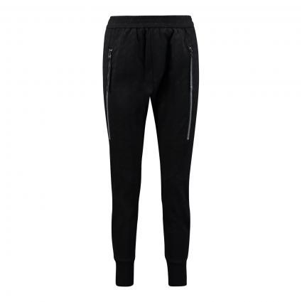 Jogg Pant Hose 'Fusion' mit elastischem Bund und uninahem All-Over Strukturmuster schwarz (090 black) | 42
