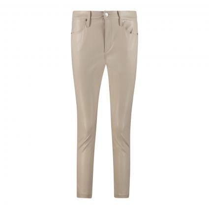 Slim-Fit Hose 'Shape' in Leder-Optik beige (219 sand stone) | 40