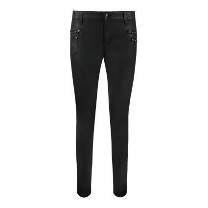 Slim-Fit Hose in Leder-Optik schwarz (090 black) | 42 | 28