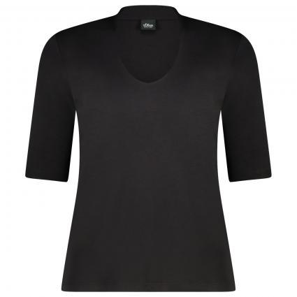 T-Shirt mit V-Ausschnitt schwarz (9999 TRUE BLACK) | 36