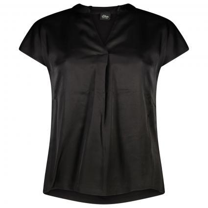 Kurzam Bluse mit V-Ausschnitt  schwarz (9999 TRUE BLACK)   38