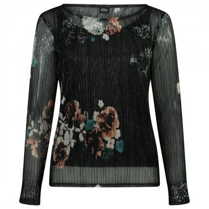 Langarmshirt mit Blumendruck schwarz (99A4 FLOWERS PR) | 46