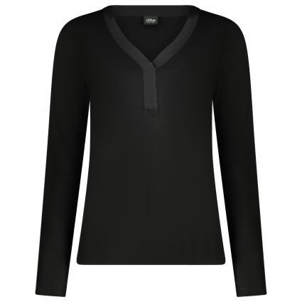 Langarm Shirt mit V-Ausschnitt  schwarz (9999 black) | 36