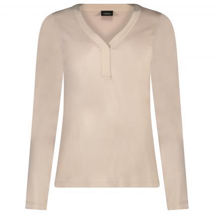 Langarm Shirt mit V-Ausschnitt  beige (8031 ivory) | 36