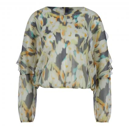 Bluse transparent mit All-Over Print  marine (59B3 AOP Small)   42