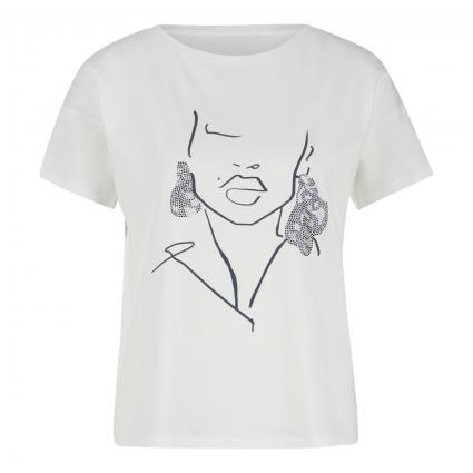 T-Shirt mit Druck und Strasssteinen weiss (01D4 Placed Shi) | 38