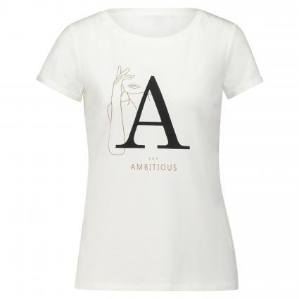 T-Shirt mit Druck weiss (01D8 white plac) | 34
