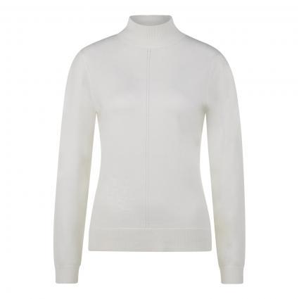 Pullover mit Stehkragen und kleiner Lochstickerei weiss (0120 white)   38