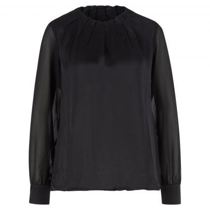 Blusenshirt mit Faltendetails am Ausschnitt aus Materialmix schwarz (9999 Black) | 36