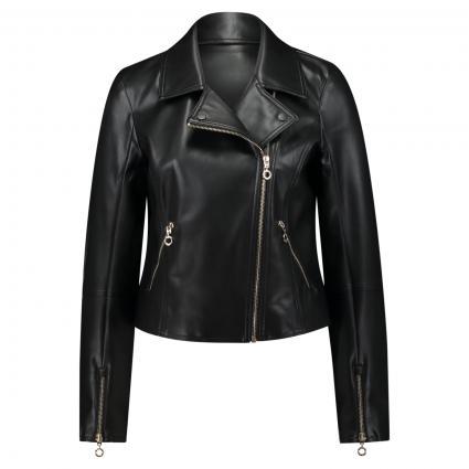 Jacke im Biker-Stil in Leder-Optik schwarz (9999 Black) | 44