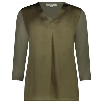 T-Shirt mit V-Ausschnitt  oliv (7844 khaki)   44
