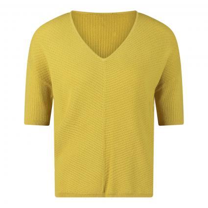 Kurzarm Pullover mit feiner Musterung gelb (1491 light gree) | 36