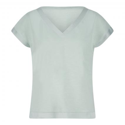T-Shirt mit Materialmix grün (6001 mint green) | 44