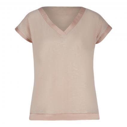 T-Shirt mit Materialmix ecru (0950 shell) | 34