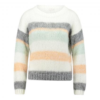 Pullover mit Streifen  ecru (113 pearl white) | L