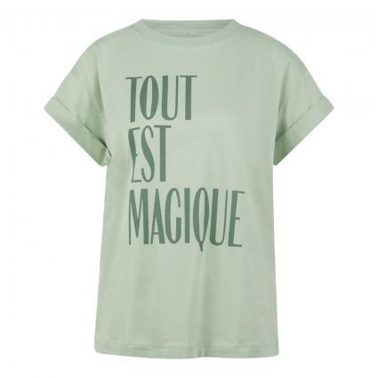 T-Shirt mit Schriftzug grün (442 eukalyptus)   XL