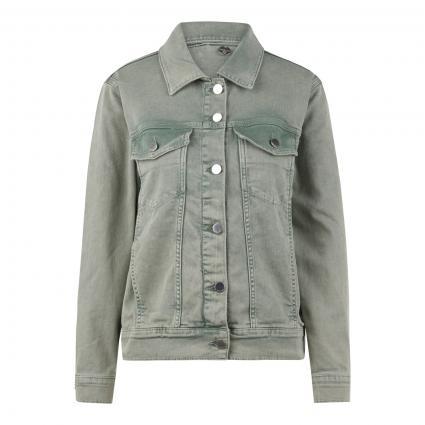 Jeansjacke mit Knopfleiste grün (442 eukalyptus) | S
